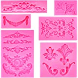 Rainmae Baroque Style Curlicues Scroll Lace Fondant Silicone Mold for Filigree Mold 3D Sculpted Flower Cake Border Decoration
