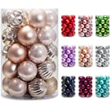 AMS Christmas Ball Ornaments Party Decoration Shatterproof Festival Widgets Pendant Hanging Pack 24ct (40mm,Champagne)
