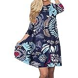 Silvous Women's Bohemian Print Tank Dress Pockets Sleeveless T-Shirt Dress