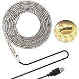 LEDテープライト LHY LEDテープ 貼レルヤ USB 5V 200cm 120連 高輝度 白ベース 正面発光 切断可能 IP65防水タイプ 間接照明・両面テープで好きな場所に貼り付け可能・ショーケースなど店舗用照明にも最適 (電球色 3000K