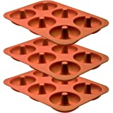 Professional Premium Silicone Donut Pan 3-Pack – Non Stick Doughnut Pans for Baking with 6 Slots – Reusable Bagel Mold Tray f