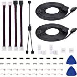 5050 4Pin LED Strip Connector Kit with 2 Way RGB Splitter Cable 6.6ft RGB Extension Cable Strip to RGB Controller Jumper LED