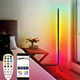 61 Inch LED RGB Color Changing Corner Floor Lamp with Remote, Multicolor Smart APP Controlled Standing Stick Light Minimalist