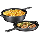 Ultimate Pre-Seasoned 2-in-1 Cast Iron Multi-Cooker – Heavy Duty 3 Quart Skillet and Lid Set, Versatile Healthy Design, Non-S