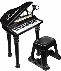 マジックピアノ ひかるカラフル 椅子付き ピンク・ブラック (ブラック) [並行輸入品]