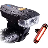 Actionale Mountain Flashlight Waterproof IPX-5, Rechargeable Bike Lights Front and Back, Tail Light Set Sensor 5 Modes LED US