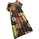 Cimaybeauty Women's Round Collar Cotton Dress Retro Ethnic Print Short-Sleeved Dress Vintage Fluffy Casual Party Dress Strapl