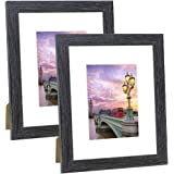 NUOLAN 8x10 Picture Frame Black Wood Pattern Art Photo Frames with 5x7 mat, Set of 2 for Wall or Tabletop Display (NL-PF-8X10