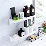 SUNSEALIVING Floating Shelves Suction Cup Wall Mounted Plastic Wall Storage Shelf Ledge for Shower Bathroom Bedroom Living Ro