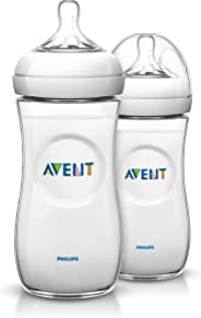 Philips Avent SCF696/23 Natural Baby Bottle, 11oz/330ml, Soft fast flow nipple,  Pack of 2