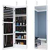 ELEGANT Mirror Jewellery Cabinet LED Light,Makeup Storage Large Storage Organizer,Full-Length Mirrors,Free Standing,Wall/Door