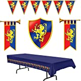 Medieval Party Decorations - Cardboard Herald Trumpets and Crest, Plastic Pennant Banner and Tablecover (Bundle of 5) by Mult