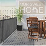 Balcony Deck Privacy Screen Cover – Heavy Duty 210 GSM, UV Weather Resistant, High Visibility Reduction – Includes Rope & Bla