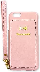 Rear Storage Style with リボン (ペールピンク) iPhone6s ケース iPhone6 ケース PUレザー 背面タイプ 背面収納 鏡 鏡付き カードポケット ストラップ付き