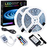 SPARKE LED Strip Lights Sync to Music Waterproof 32.8ft(10M) 600LEDs Flexible RGB 12V SMD5050 LED Tape Light with RF Music Co