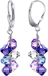 Gem Avenue 925 Sterling Silver Lavender Clear and Tanzanite Colour Elements Crystal Handmade Cluster Style Leverback Drop Earrings