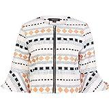 HaoDuoYi Womens Geometric Print Ruffle Half Sleeve Zip Up Cropped Casual Coat