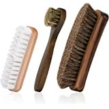 "6.7"" Horsehair Shoe Shine Brushes with Horse Hair Bristles and Wooden Handle for Boots, Shoes & Other Leather Care"