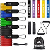Whatafit Resistance Bands Set (16pcs), Exercise Bands with Door Anchor, Handles, Carry Bag, Legs Ankle Straps for Resistance