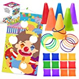 UNGLINGA Carnival Toss Games Kids Party Rings Bean Bag Tossing Cones Circus Game Obstacle Course Set for Children Family Adul