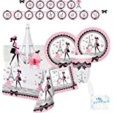Paris Party Supplies - Plates Cups Napkins Banner Tablecloth and Centerpiece for 16 People - Perfect Paris Party Decorations