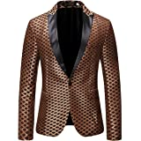 Cloudstyle Mens Print Tuxedo Jacket 1 Button Slim Fit Dress Suit Blazer Formal Sport Coat