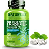 NATURELO Probiotic Supplement - Best for Digestive Health and Immune Support - Ultra Strength Probiotics - 50 Billion CFU - 1