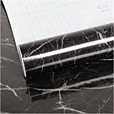 VEELIKE 40cmX3m Black Marble Contact Paper Counter Top Covers Peel and Stick Wallpaper Waterproof Removable Wall Paper Self A