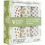 Muslin Swaddle Blanket Unisex Organic Bamboo for Baby, Set of 3 Swaddles for Boys and Girls, Soft Swaddling Receiving Sleep B