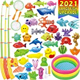CozyBomB Magnetic Fishing Game Toys Mega Set - 57 Pcs Summer Outdoor Backyard Water Toy With Kiddie Pool, Floating Pole Rod N