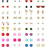 Udalyn 36 Pairs Stainless Steel Mixed Color Cute Stud Earrings Animals Elephant Heart Star Moon Horse Bear Crane Bee Frog Flo