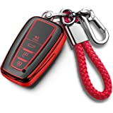 Tukellen for Toyota Key Fob Cover with Keychain Special Soft TPU Key Case Protector Compatible with 2018-2020 Toyota RAV4 Cam