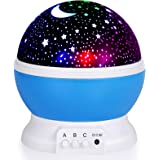 Night Light for Kids, Moon Star Projector - 4 LED Bulbs 8 Light Color Changing with USB Cable, 360 Degree Rotation, Romantic
