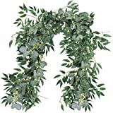 SUPLA 2 Pack Separate 5.9' L Faux Eucalyptus Leave Garland and Willow Vines Twigs Leaves Garland String for Wedding Arch Swag
