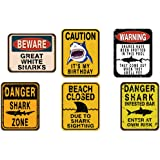 WERNNSAI Shark Zone Party Decorations - 6 PCS Funny Party Wall Decor Signs for Boys Kids Birthday Party Ocean Shark Theme Par