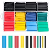 H HOME-MART 530 Pcs Heat Shrink Tubing kit, Electric Insulation Heat Shrink Wrap Cable Sleeve,5 Colors in 12 Sizes