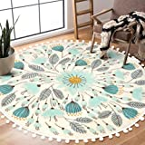 Uphome Round Area Rug 4' Diameter with Chic Pom Pom Ball Fringe Floral Velvet Throw Rugs Field Plants Non-Slip Soft Floor Car