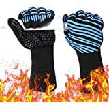 932℉ Extreme Heat Resistant BBQ Gloves, Food Grade Kitchen Oven Mitts - Flexible Oven Gloves with Cut Resistant, Silicone Non