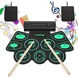 Merkmak 電子ドラム ポータブルドラム 9個ドラムパッド 4デモ曲 7ドラム音色 9リズム スピーカー内蔵 外部音源入力可能 フットペダル ドラムスティック付き 練習用 日本語取扱説明書付き 練習/初心者/入門