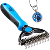 Pet Grooming Tool - 2 Sided Undercoat Rake for Cats & Dogs - Safe Dematting Comb for Easy Mats & Tangles Removing - No More N