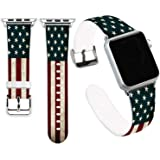 Flag Bands for Apple Watch 42mm,Jolook Soft Leather Sport Style Replacement iWatch Band Strap for iWatch 44mm Series 4/42mm S