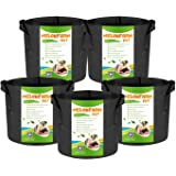 MELONFARM 5-Pack 2 Gallon Grow Bags Heavy Duty Thickened Non-Woven Smart Plant Aeration Fabric Pots with Handles Extremely Du