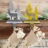 FORUP Christmas Reindeer Stocking Holder, Battery Operated LED Lighted Decoration (Reindeer)
