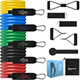 Allvodes Resistance Bands Set 12pcs, Workout Bands, Exercise Bands Set with Door Anchor, Handles and Ankle Straps, Stackable
