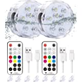 Qoolife Rechargeable Underwater Lights - USB Magnetic Waterproof Pool Night Lights Remote Controlled RGB Changing Submersible