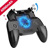 Mobile Game Controller with 4000mAh Power Bank and Cooling Fan, PUBG Mobile Controller Gamepad L1 R1 Aim and Shoot Trigger, J