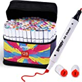 128-Pack Alcohol Markers with Storage Gift Box, Ink Made in Japan. SPREEY Double Tipped Sketch Markers for Beginners, Student