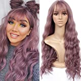HUA MIAN LI Long Wavy Wig With Air Bangs Silky Full Heat Resistant Synthetic Wig for Women - Natural Looking Machine Made Gre