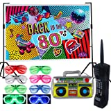 80s Party Backdrop Decoration Supplies Set- Inflatable Retro Mobile Phone Boombox LED Shutter Shading Glasses Party Favors 80