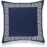 """Hofdeco Coastal Decorative Throw Pillow Cover ONLY, for Couch, Sofa, or Bed, Navy Blue Greek Key, 18""""x18"""""""